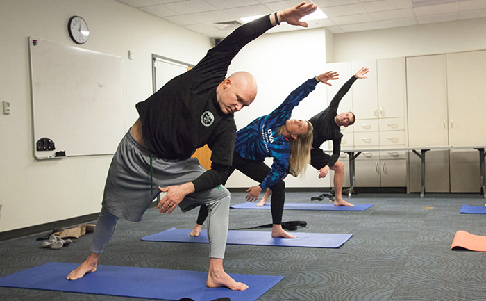 Corporal James Kinsella, a canine patrol officer with an 11-year career with the Bend PD, is a regular at the yoga sessions. His lower back pain has subsided, but the benefits go a lot further, including improved performance and a better mental outlook.